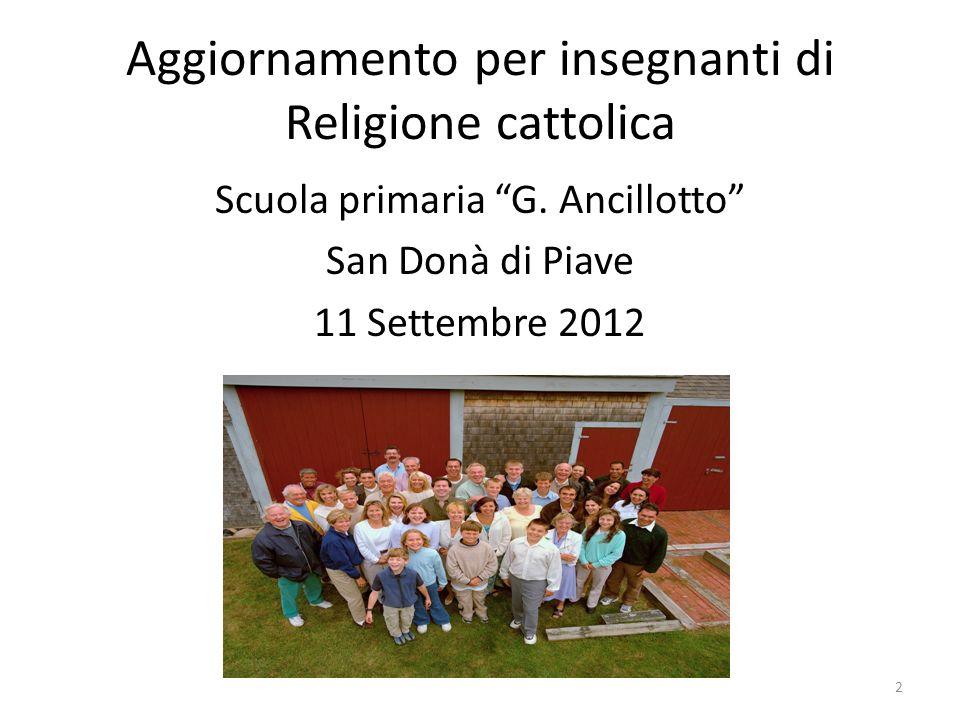 Aggiornamento per insegnanti di Religione cattolica Scuola primaria G.