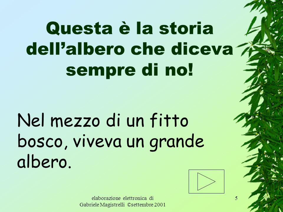 elaborazione elettronica di Gabriele Magistrelli ©settembre 2001 4 Ricostruisci, sul quaderno, alla fine del racconto, la storia dell albero. Poi colo