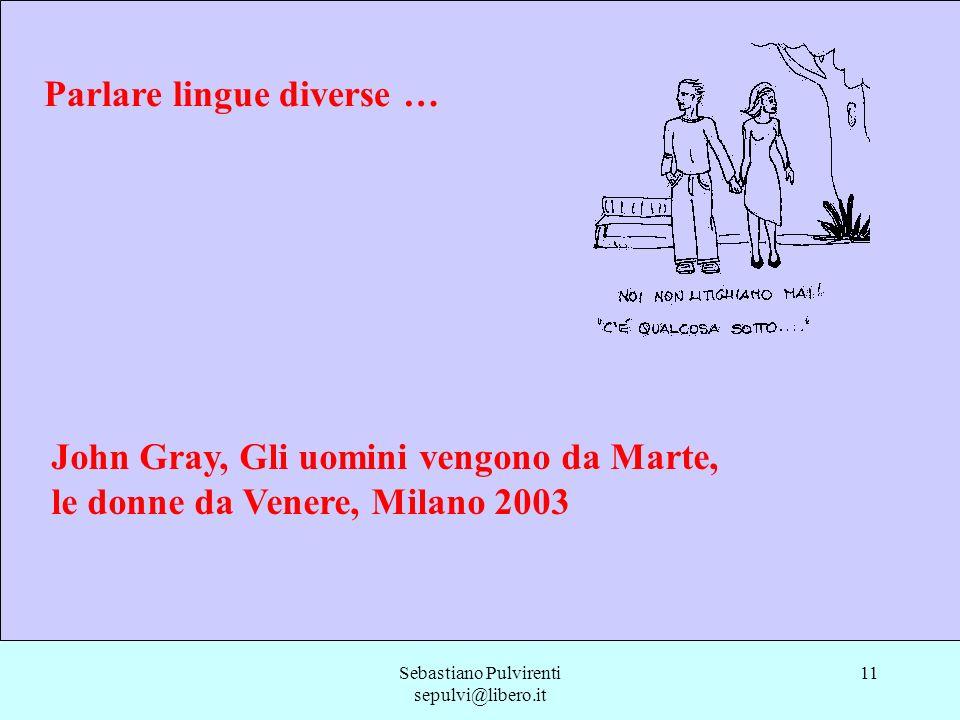 Sebastiano Pulvirenti sepulvi@libero.it 11 Parlare lingue diverse … John Gray, Gli uomini vengono da Marte, le donne da Venere, Milano 2003