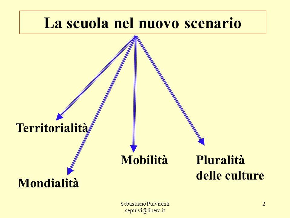 Sebastiano Pulvirenti sepulvi@libero.it 2 La scuola nel nuovo scenario Territorialità MobilitàPluralità delle culture Mondialità