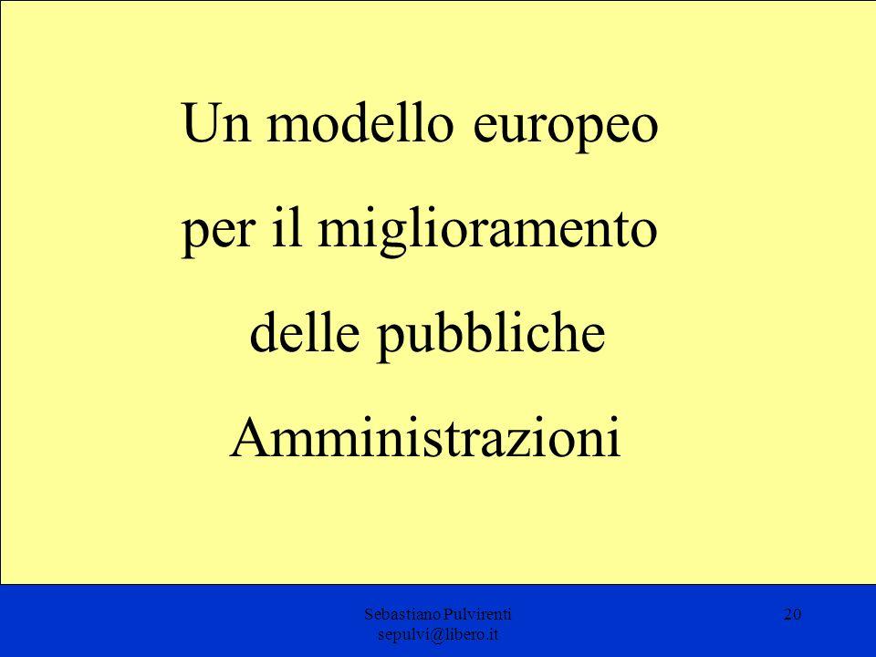Sebastiano Pulvirenti sepulvi@libero.it 20 Un modello europeo per il miglioramento delle pubbliche Amministrazioni