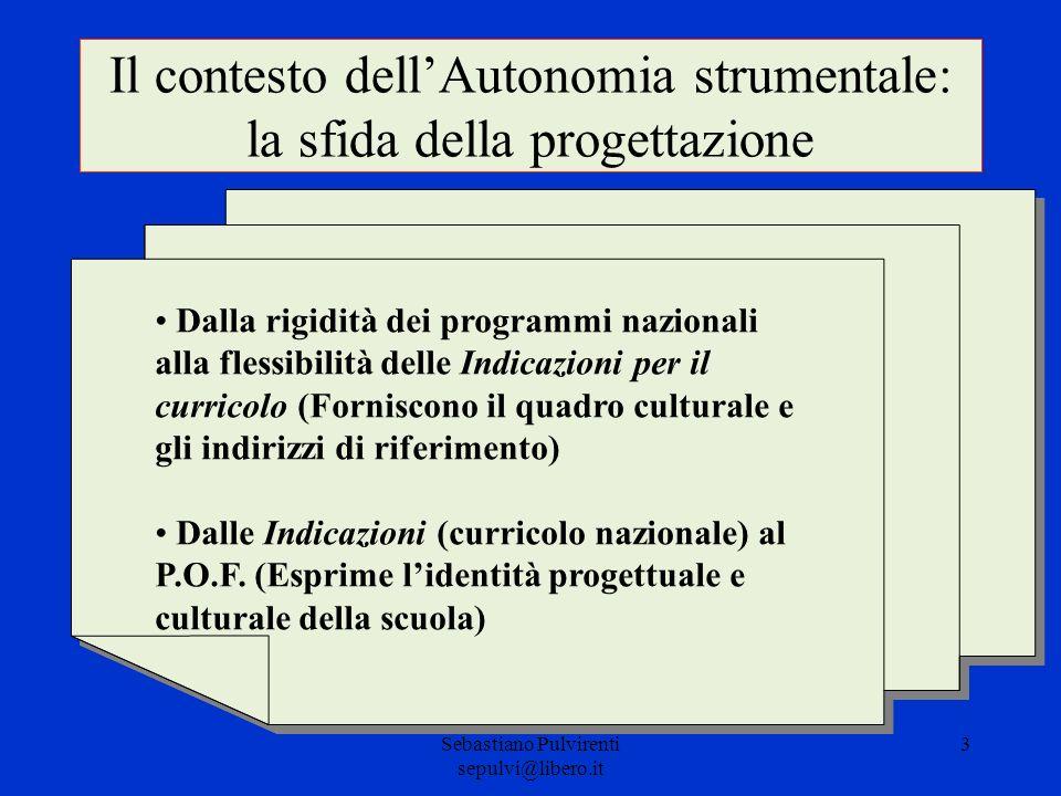 Sebastiano Pulvirenti sepulvi@libero.it 3 Il contesto dellAutonomia strumentale: la sfida della progettazione Dalla rigidità dei programmi nazionali a