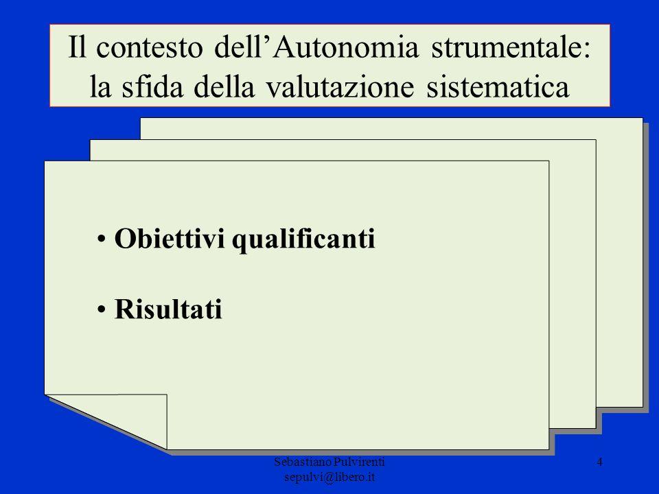 Sebastiano Pulvirenti sepulvi@libero.it 4 Il contesto dellAutonomia strumentale: la sfida della valutazione sistematica Obiettivi qualificanti Risulta