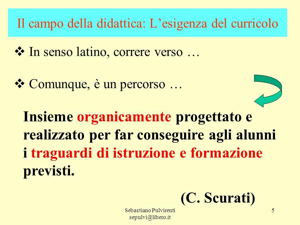 Sebastiano Pulvirenti sepulvi@libero.it 5 Il campo della didattica: Lesigenza del curricolo In senso latino, correre verso … Comunque, è un percorso …