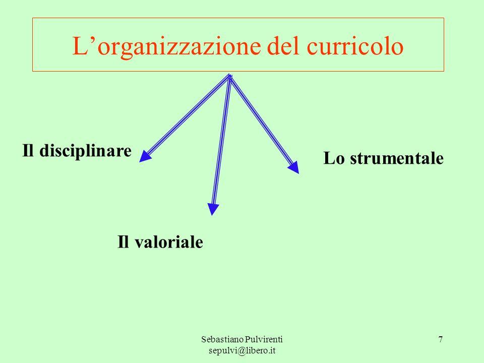 Sebastiano Pulvirenti sepulvi@libero.it 7 Lorganizzazione del curricolo Il disciplinare Lo strumentale Il valoriale