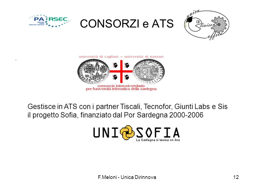 F.Meloni - Unica Dirinnova12 CONSORZI e ATS. Gestisce in ATS con i partner Tiscali, Tecnofor, Giunti Labs e Sis il progetto Sofia, finanziato dal Por