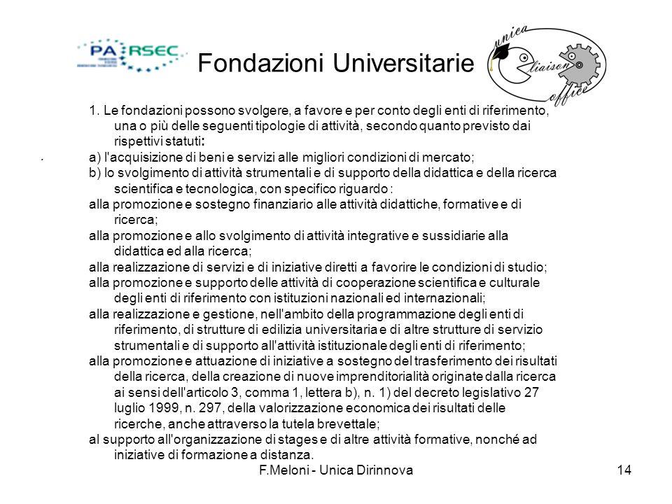 F.Meloni - Unica Dirinnova14 Fondazioni Universitarie. 1. Le fondazioni possono svolgere, a favore e per conto degli enti di riferimento, una o più de