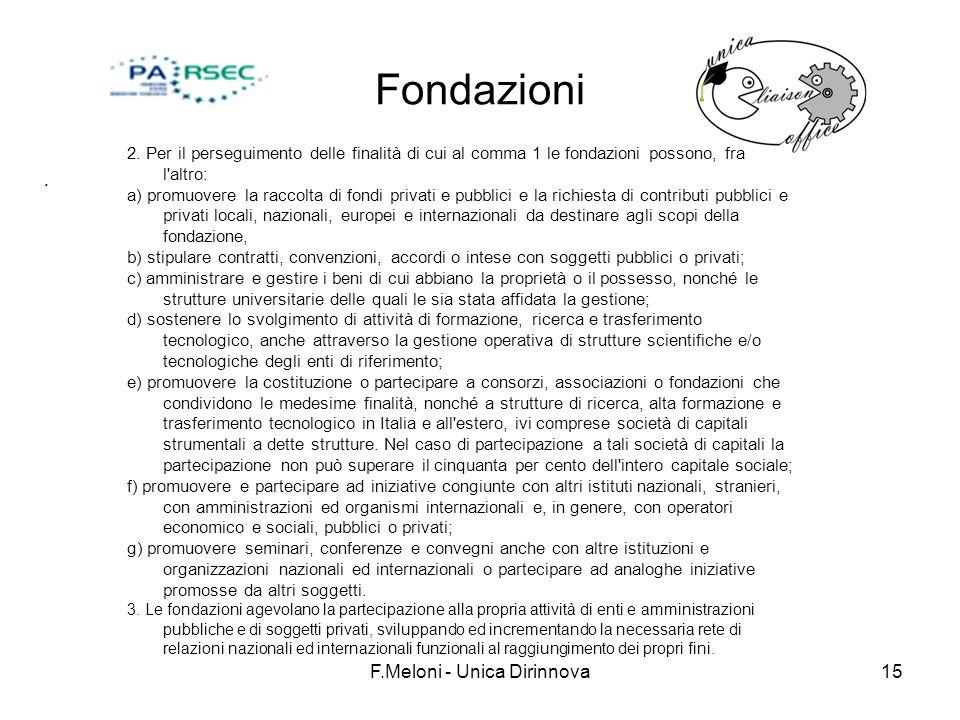 F.Meloni - Unica Dirinnova15 Fondazioni. 2. Per il perseguimento delle finalità di cui al comma 1 le fondazioni possono, fra l'altro: a) promuovere la