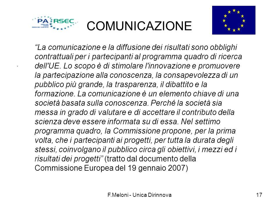 F.Meloni - Unica Dirinnova17 COMUNICAZIONE. La comunicazione e la diffusione dei risultati sono obblighi contrattuali per i partecipanti al programma