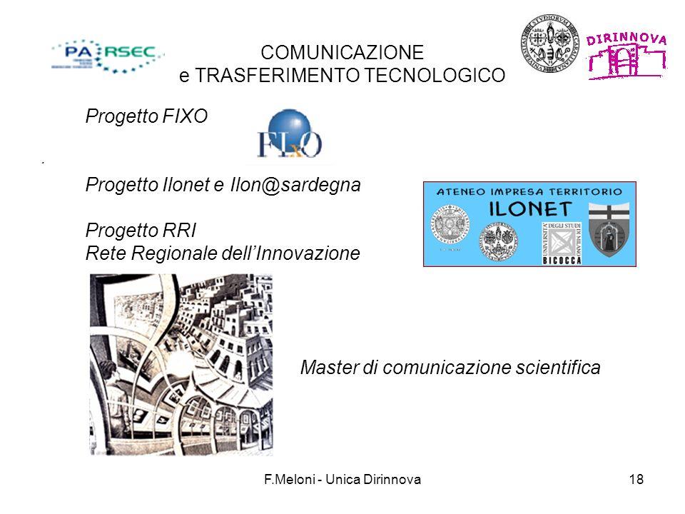 F.Meloni - Unica Dirinnova18 COMUNICAZIONE e TRASFERIMENTO TECNOLOGICO. Progetto FIXO Progetto Ilonet e Ilon@sardegna Progetto RRI Rete Regionale dell