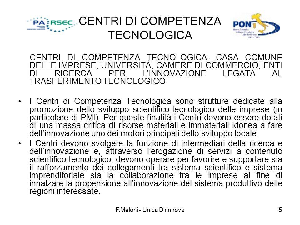 F.Meloni - Unica Dirinnova5 CENTRI DI COMPETENZA TECNOLOGICA CENTRI DI COMPETENZA TECNOLOGICA: CASA COMUNE DELLE IMPRESE, UNIVERSITÀ, CAMERE DI COMMERCIO, ENTI DI RICERCA PER LINNOVAZIONE LEGATA AL TRASFERIMENTO TECNOLOGICO I Centri di Competenza Tecnologica sono strutture dedicate alla promozione dello sviluppo scientifico-tecnologico delle imprese (in particolare di PMI).
