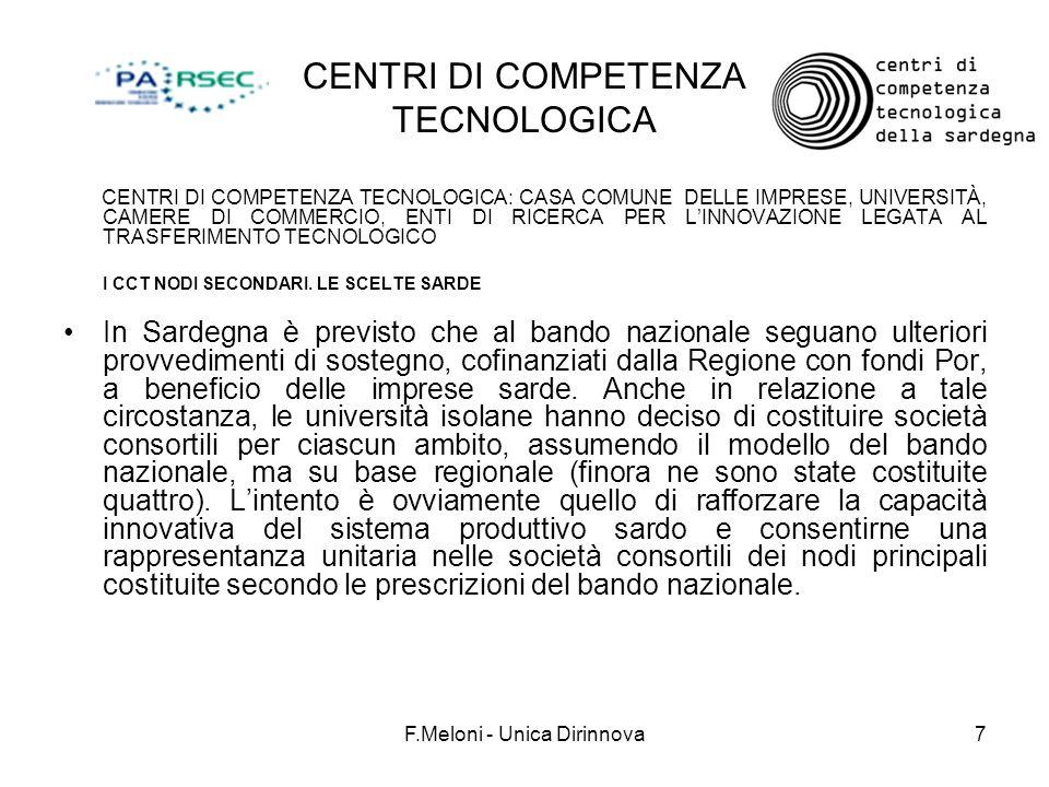 F.Meloni - Unica Dirinnova7 CENTRI DI COMPETENZA TECNOLOGICA CENTRI DI COMPETENZA TECNOLOGICA: CASA COMUNE DELLE IMPRESE, UNIVERSITÀ, CAMERE DI COMMER