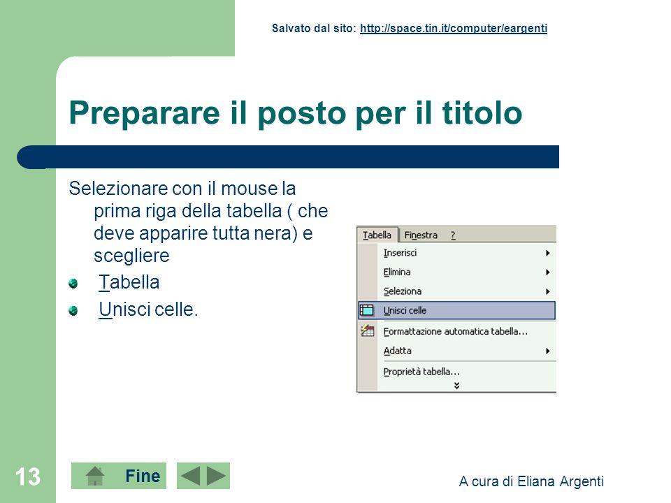 Fine Salvato dal sito: http://space.tin.it/computer/eargentihttp://space.tin.it/computer/eargenti A cura di Eliana Argenti 13 Preparare il posto per i
