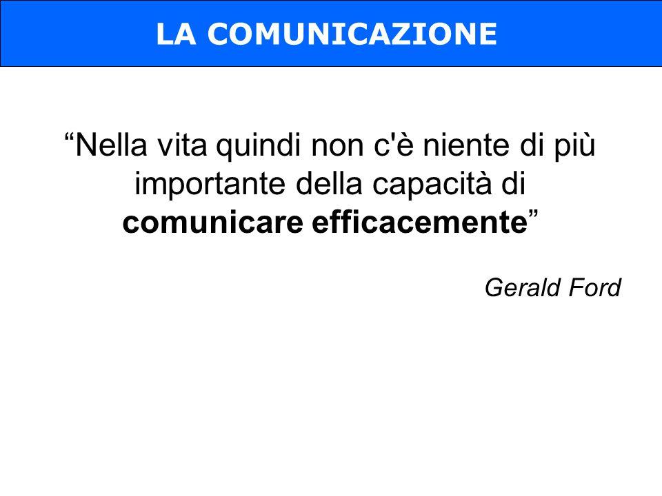 Nella vita quindi non c è niente di più importante della capacità di comunicare efficacemente Gerald Ford LA COMUNICAZIONE