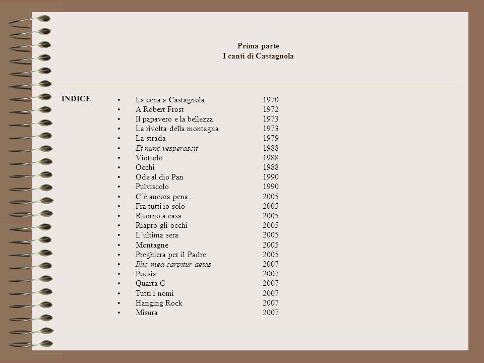 Prima parte I canti di Castagnola INDICE La cena a Castagnola1970 A Robert Frost1972 Il papavero e la bellezza1973 La rivolta della montagna1973 La st
