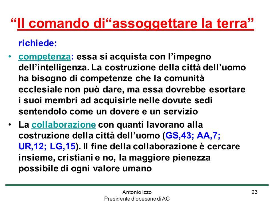 Antonio Izzo Presidente diocesano di AC 23 richiede: competenza: essa si acquista con limpegno dellintelligenza.