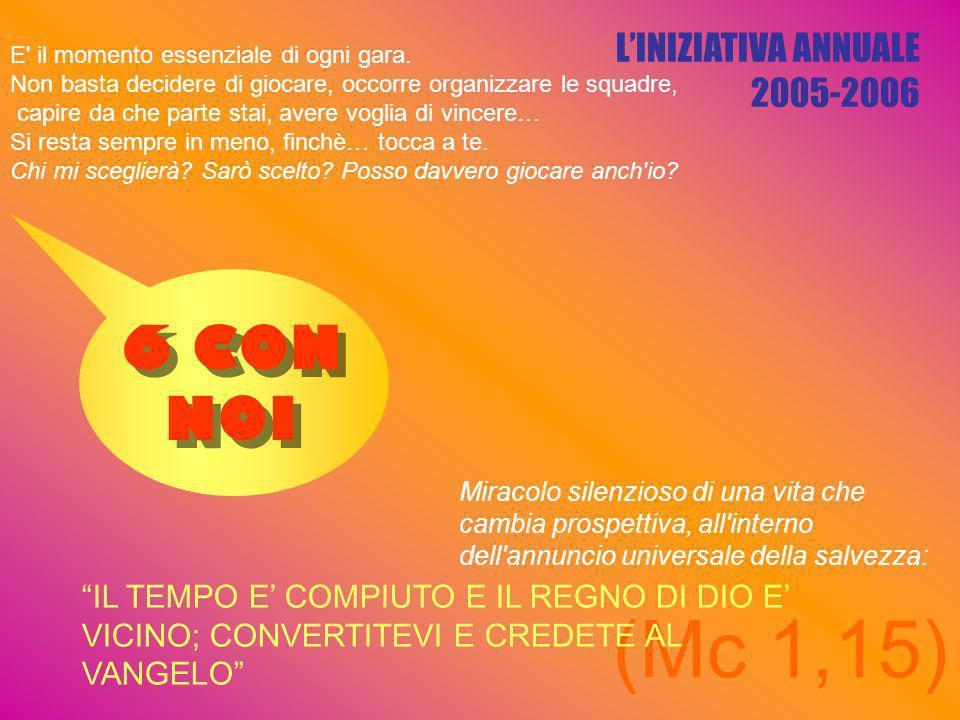 LINIZIATIVA ANNUALE 2005-2006 (Mc 1,15) E il momento essenziale di ogni gara.