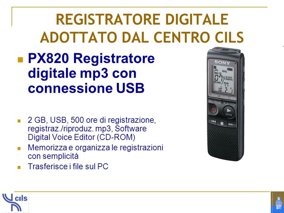 REGISTRATORE DIGITALE ADOTTATO DAL CENTRO CILS PX820 Registratore digitale mp3 con connessione USB 2 GB, USB, 500 ore di registrazione, registraz./rip