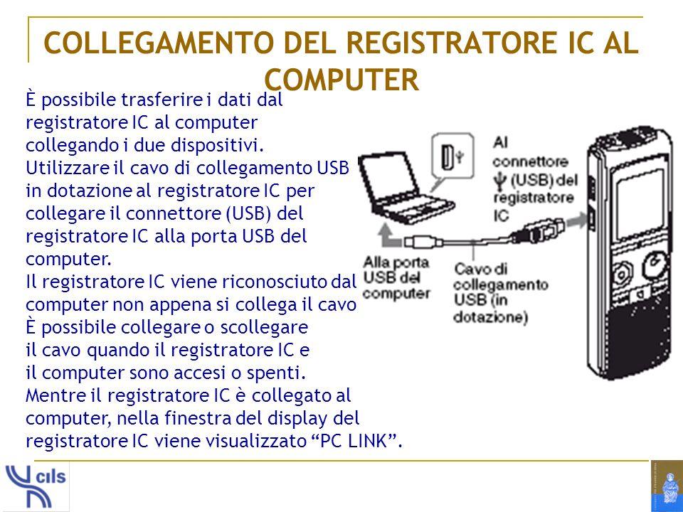 COLLEGAMENTO DEL REGISTRATORE IC AL COMPUTER È possibile trasferire i dati dal registratore IC al computer collegando i due dispositivi. Utilizzare il
