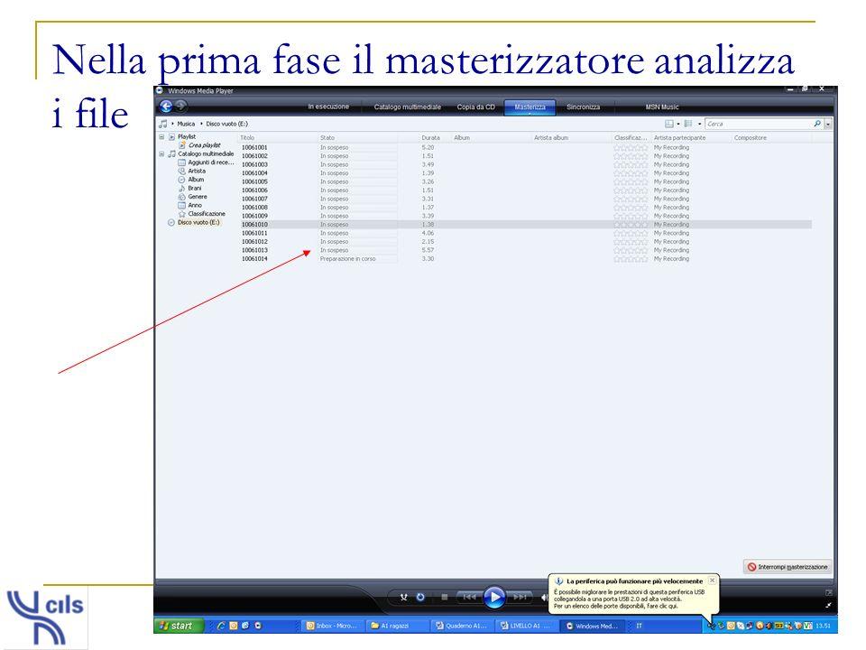 Nella prima fase il masterizzatore analizza i file