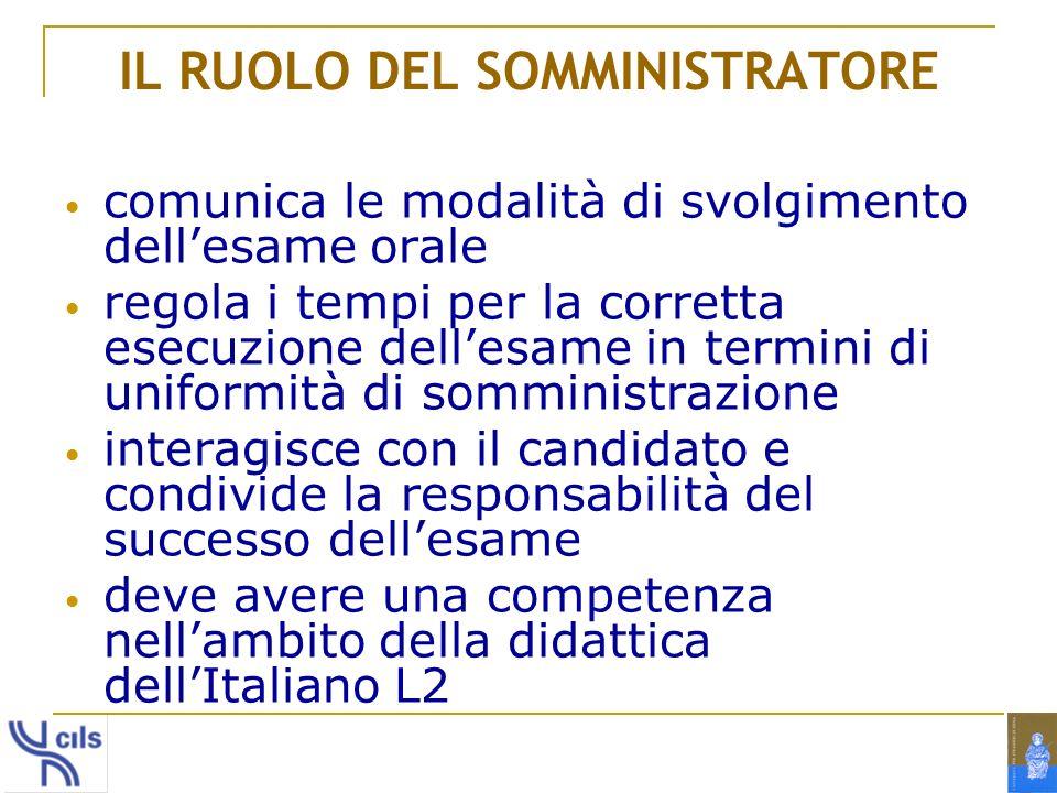 IL RUOLO DEL SOMMINISTRATORE comunica le modalità di svolgimento dellesame orale regola i tempi per la corretta esecuzione dellesame in termini di uni