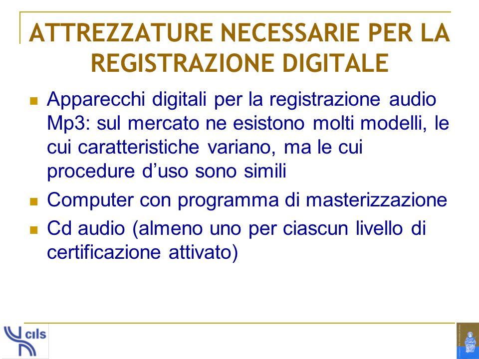 ATTREZZATURE NECESSARIE PER LA REGISTRAZIONE DIGITALE Apparecchi digitali per la registrazione audio Mp3: sul mercato ne esistono molti modelli, le cu