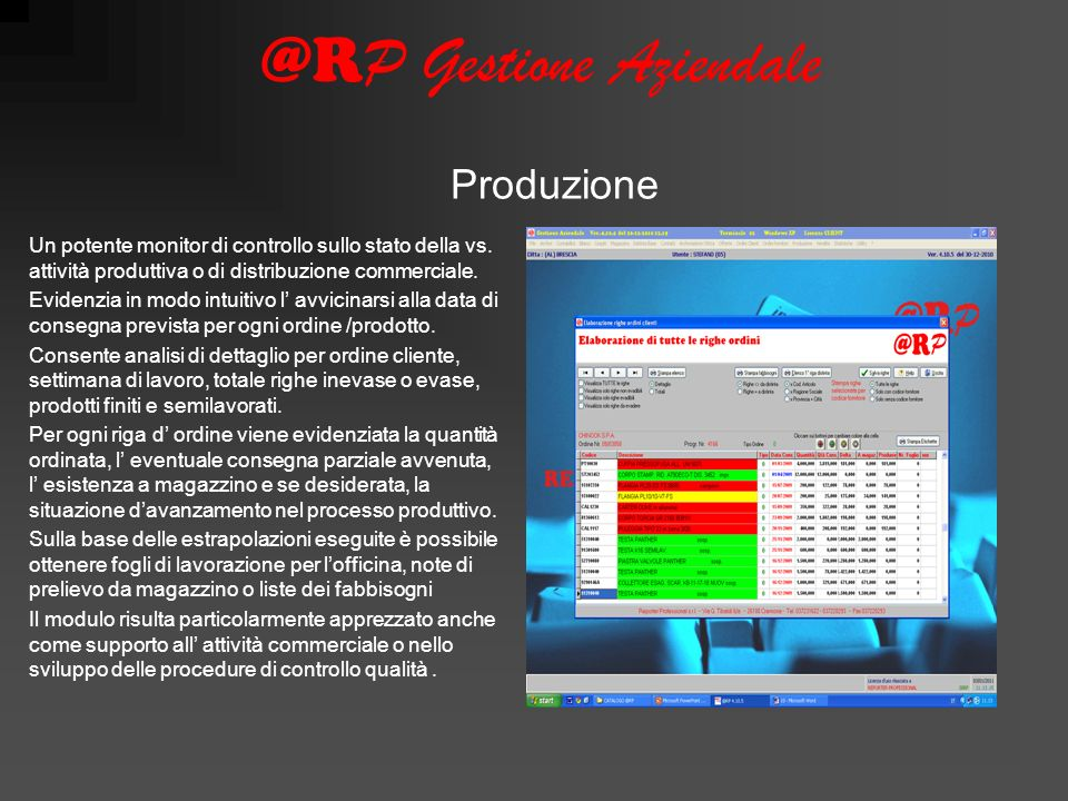 @R P Gestione Aziendale Un potente monitor di controllo sullo stato della vs.