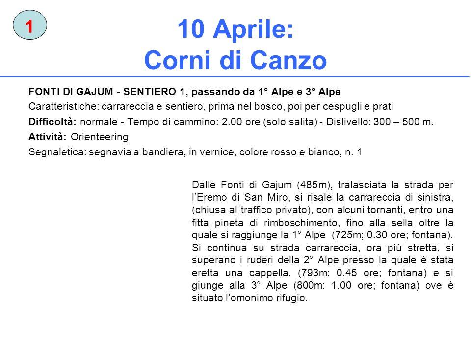 10 Aprile: Corni di Canzo 1 FONTI DI GAJUM - SENTIERO 1, passando da 1° Alpe e 3° Alpe Caratteristiche: carrareccia e sentiero, prima nel bosco, poi p