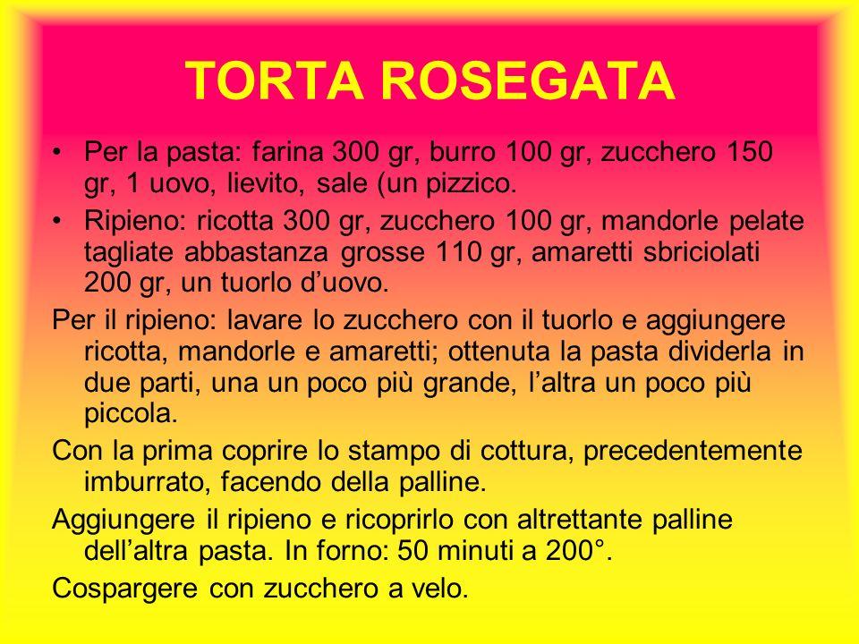 TORTA ROSEGATA Per la pasta: farina 300 gr, burro 100 gr, zucchero 150 gr, 1 uovo, lievito, sale (un pizzico.