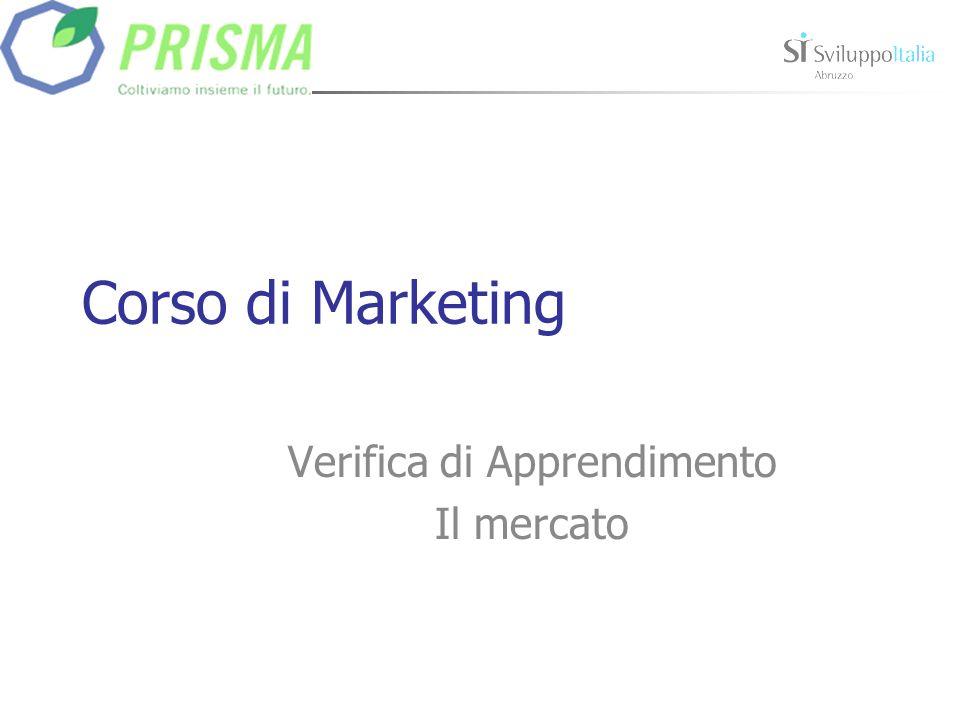Corso di Marketing Verifica di Apprendimento Il mercato