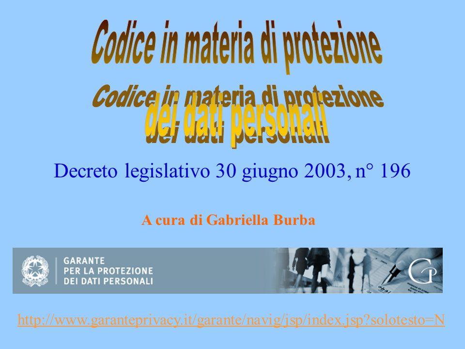 Decreto legislativo 30 giugno 2003, n° 196 http://www.garanteprivacy.it/garante/navig/jsp/index.jsp?solotesto=N A cura di Gabriella Burba