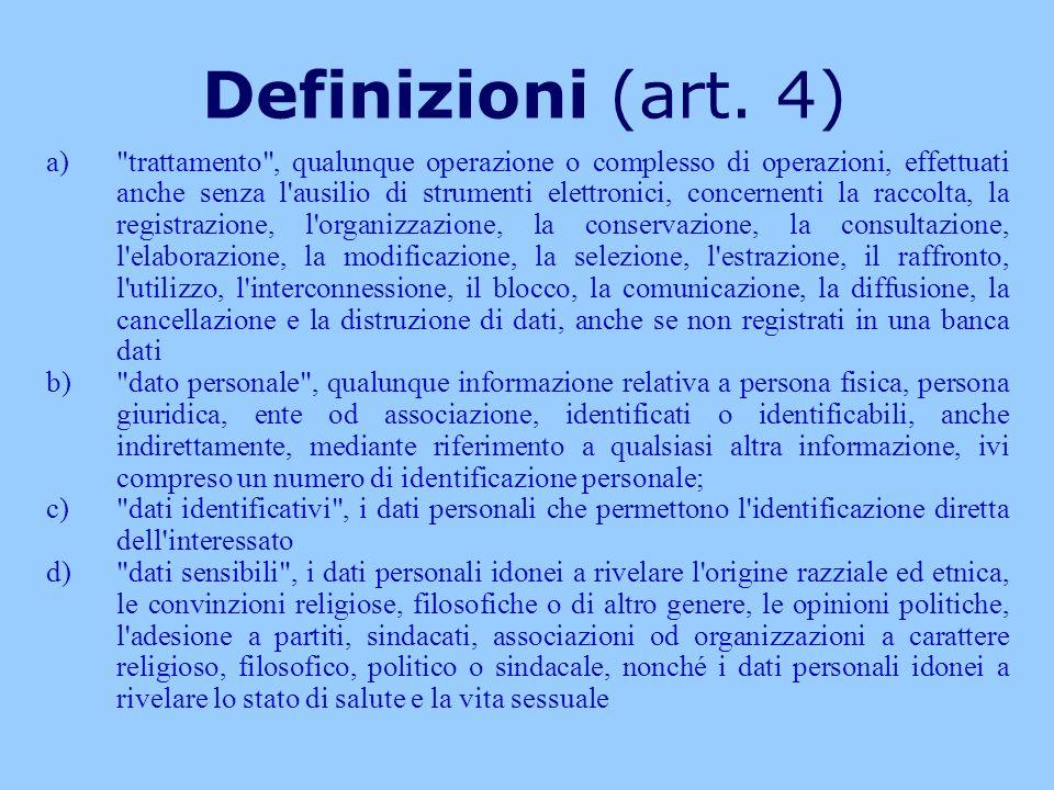 Definizioni (art. 4) a)