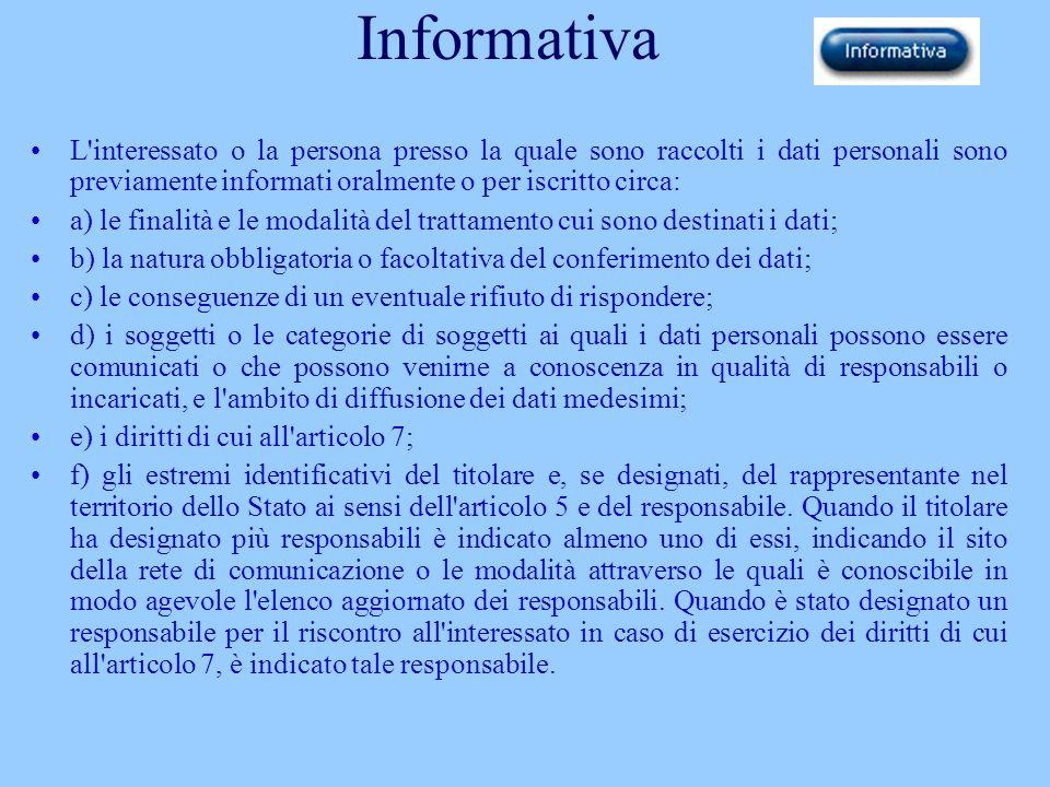 Informativa L'interessato o la persona presso la quale sono raccolti i dati personali sono previamente informati oralmente o per iscritto circa: a) le