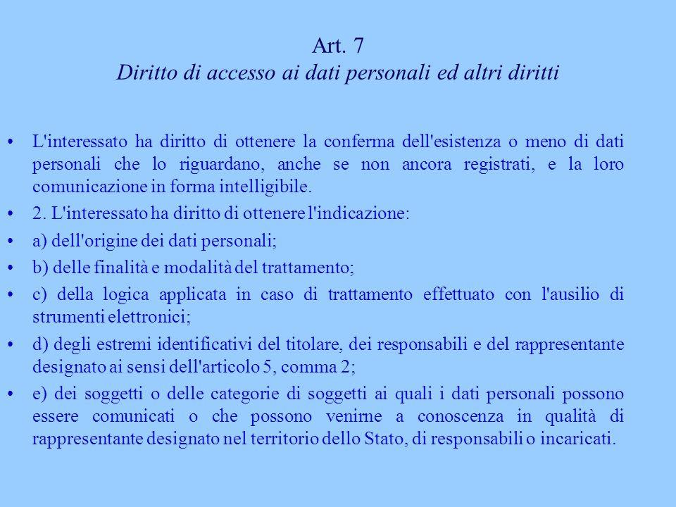 Art. 7 Diritto di accesso ai dati personali ed altri diritti L'interessato ha diritto di ottenere la conferma dell'esistenza o meno di dati personali