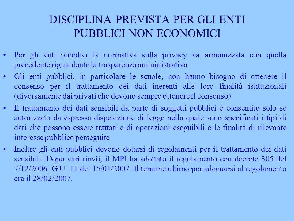 DISCIPLINA PREVISTA PER GLI ENTI PUBBLICI NON ECONOMICI Per gli enti pubblici la normativa sulla privacy va armonizzata con quella precedente riguarda
