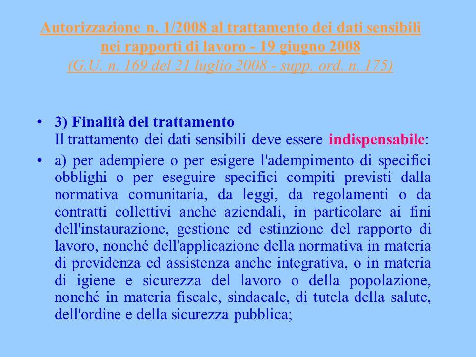 Autorizzazione n. 1/2008 al trattamento dei dati sensibili nei rapporti di lavoro - 19 giugno 2008 (G.U. n. 169 del 21 luglio 2008 - supp. ord. n. 175