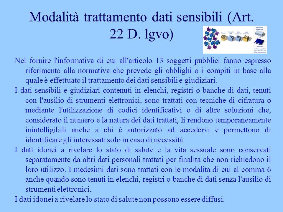 Modalità trattamento dati sensibili (Art. 22 D. lgvo) Nel fornire l'informativa di cui all'articolo 13 soggetti pubblici fanno espresso riferimento al
