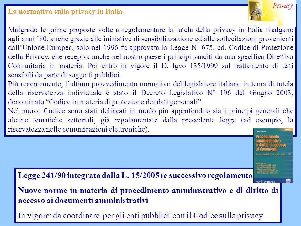 Legge 241/90 integrata dalla L. 15/2005 (e successivo regolamento) Nuove norme in materia di procedimento amministrativo e di diritto di accesso ai do