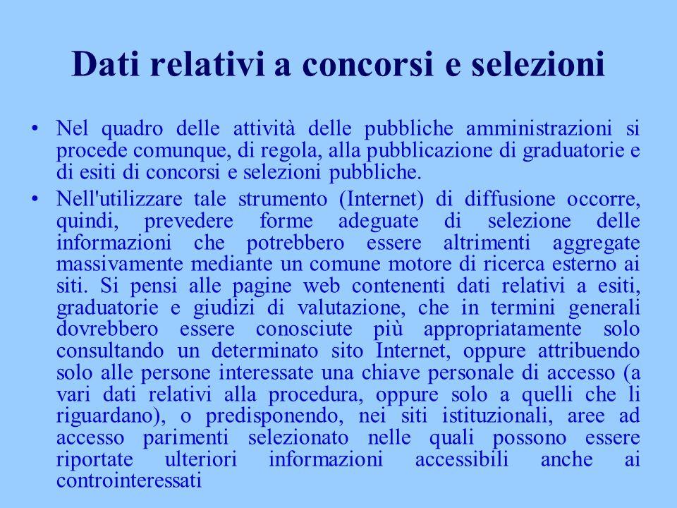 Dati relativi a concorsi e selezioni Nel quadro delle attività delle pubbliche amministrazioni si procede comunque, di regola, alla pubblicazione di g