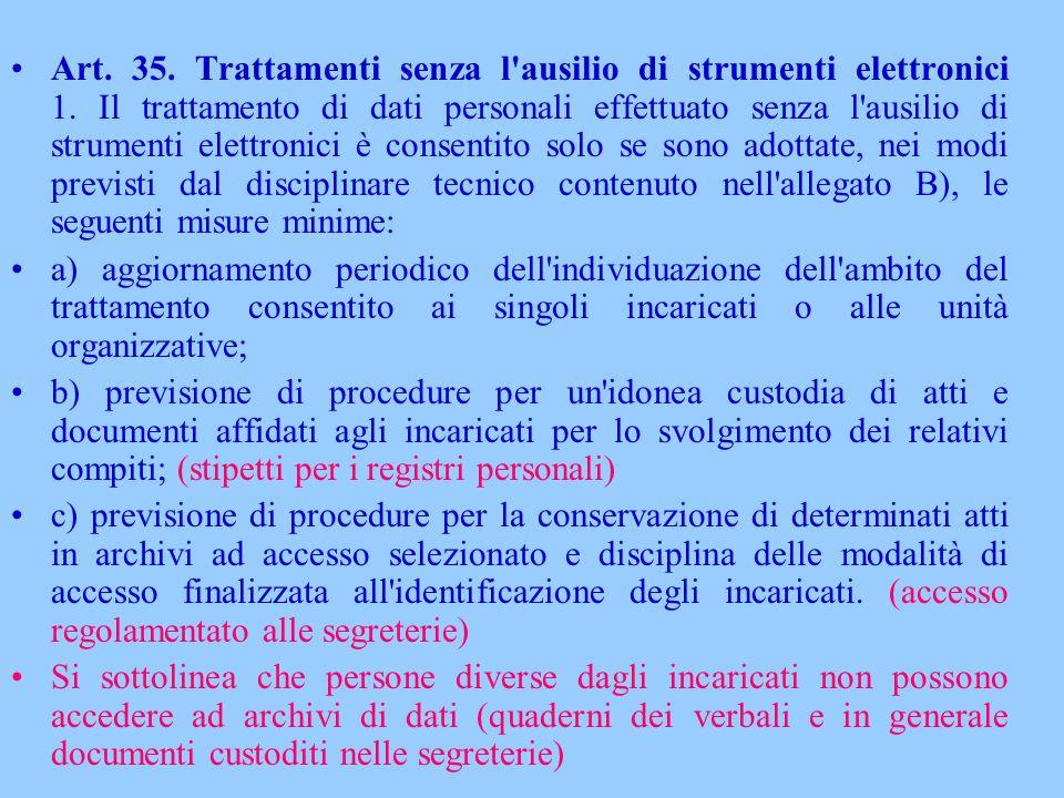 Art. 35. Trattamenti senza l'ausilio di strumenti elettronici 1. Il trattamento di dati personali effettuato senza l'ausilio di strumenti elettronici