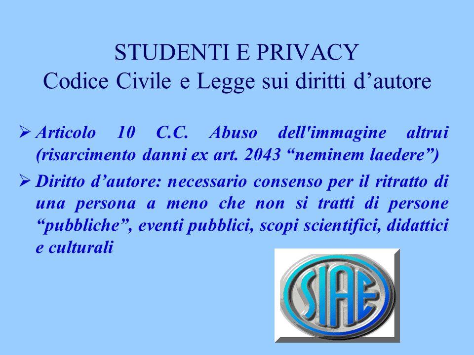 STUDENTI E PRIVACY Codice Civile e Legge sui diritti dautore Articolo 10 C.C. Abuso dell'immagine altrui (risarcimento danni ex art. 2043 neminem laed