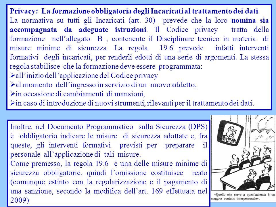 Privacy: La formazione obbligatoria degli Incaricati al trattamento dei dati La normativa su tutti gli Incaricati (art. 30) prevede che la loro nomina
