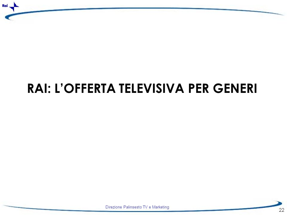 Direzione Palinsesto TV e Marketing 22 RAI: LOFFERTA TELEVISIVA PER GENERI