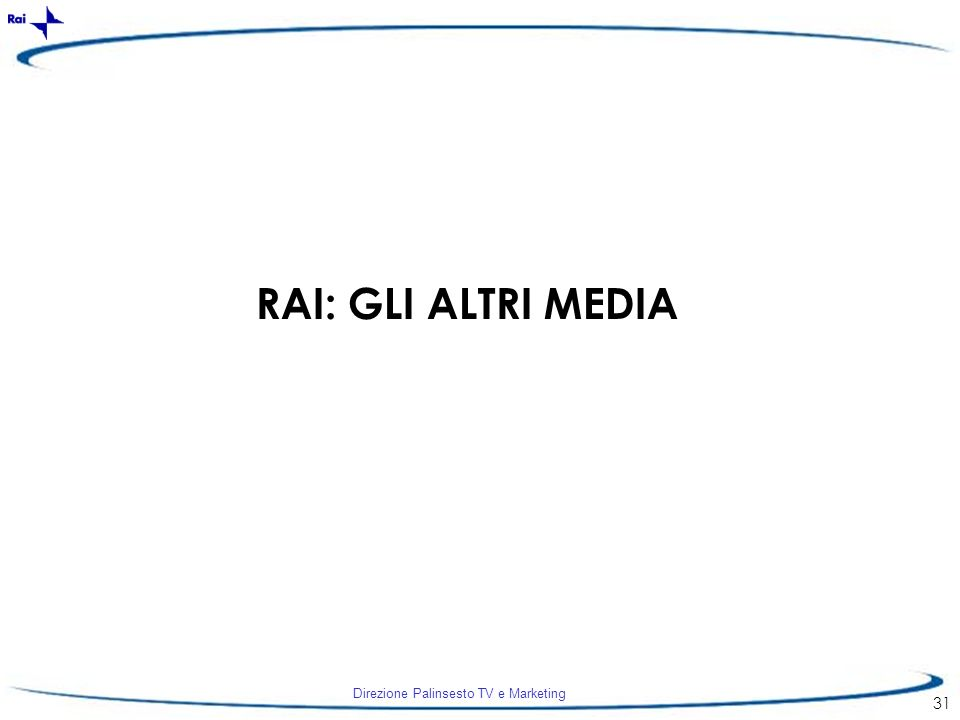 Direzione Palinsesto TV e Marketing 31 RAI: GLI ALTRI MEDIA