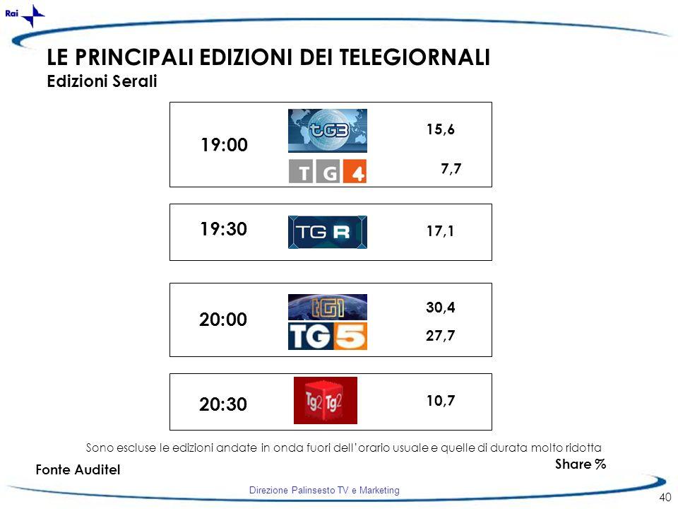 Direzione Palinsesto TV e Marketing 40 LE PRINCIPALI EDIZIONI DEI TELEGIORNALI Edizioni Serali 19:00 20:00 19:30 20:30 15,6 27,7 30,4 7,7 17,1 Share %