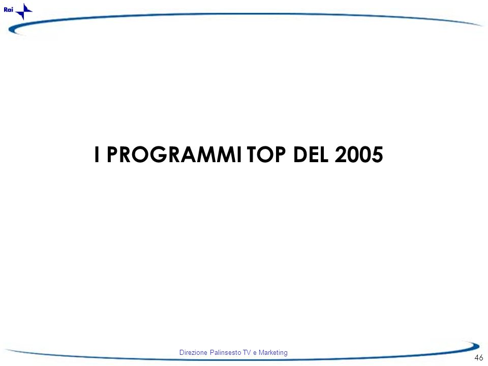 Direzione Palinsesto TV e Marketing 46 I PROGRAMMI TOP DEL 2005