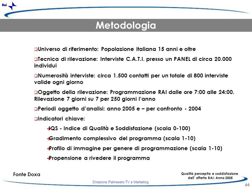 Direzione Palinsesto TV e Marketing 66 Fonte Doxa Qualità percepita e soddisfazione dell offerta RAI: Anno 2005 Metodologia Universo di riferimento: P