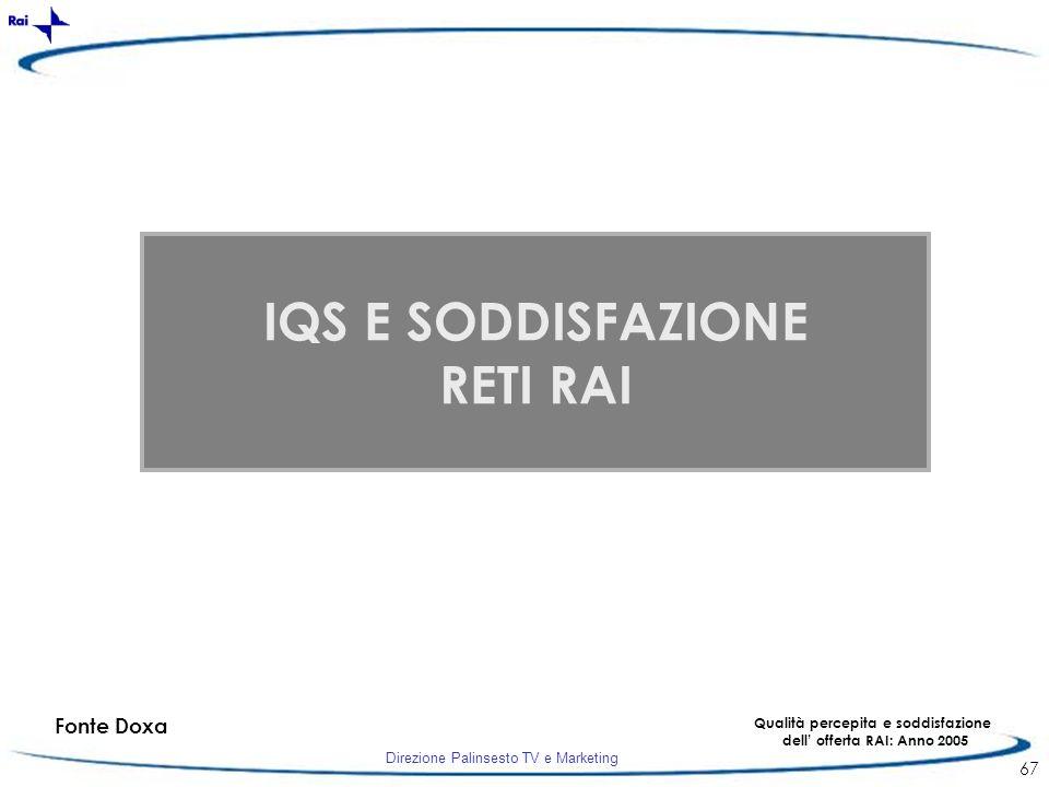 Direzione Palinsesto TV e Marketing 67 Fonte Doxa Qualità percepita e soddisfazione dell offerta RAI: Anno 2005 IQS E SODDISFAZIONE RETI RAI