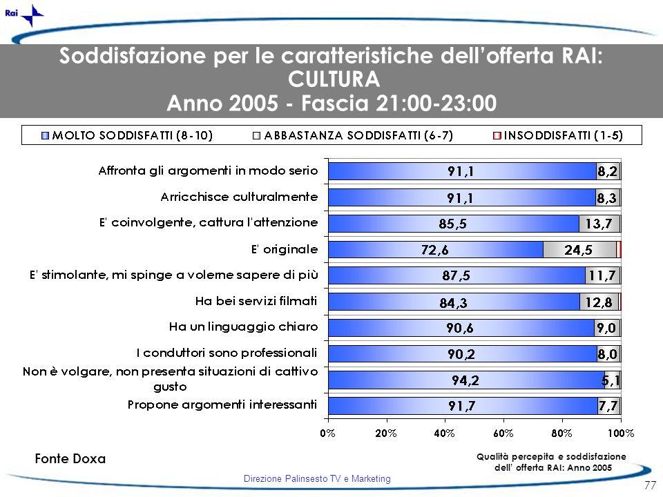 Direzione Palinsesto TV e Marketing 77 Fonte Doxa Qualità percepita e soddisfazione dell offerta RAI: Anno 2005 Soddisfazione per le caratteristiche d