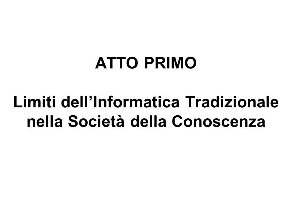 ATTO PRIMO Limiti dellInformatica Tradizionale nella Società della Conoscenza